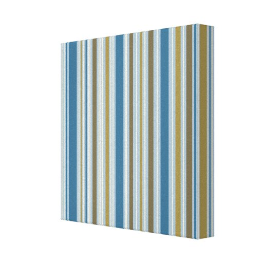 Stripey Vertical Design Gold Cream Brown Blues Gallery Wrapped Canvas