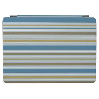 Stripey Vertical Design Gold Cream Brown Blues iPad Air Cover