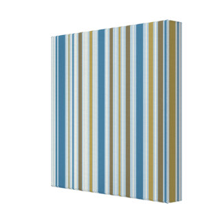 Stripey Vertical Design Gold Cream Brown Blues Stretched Canvas Print