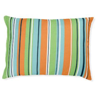 Stripey Vertical Design Green Blues Orange & White Pet Bed