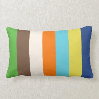 Stripey Vertical Design Retro Color Mix Lumbar Cushion