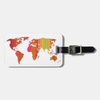 Stripey World Luggage Tag