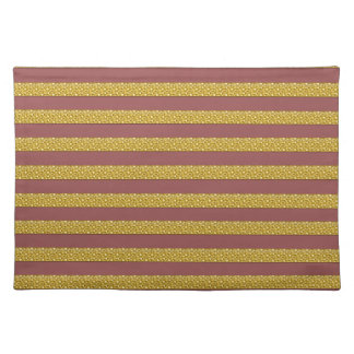 Stripped Marsala and Gold Placemat