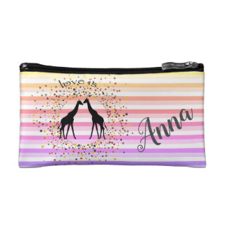 Strips, Funny, Giraffes, Personalized Makeup Bag