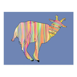 Stripy coloured goat on things change to your name postcard