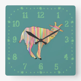 Stripy colourful Funny Goat Art Animal Design Square Wall Clock