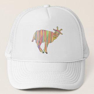 Stripy colourful Funny Goat Art Animal Design Trucker Hat