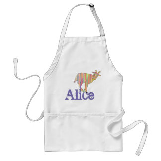 Stripy Colourful Goat Art Design Add Your Name Standard Apron