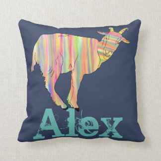 Stripy Colourful Goat Art Design with Your Name Cushion