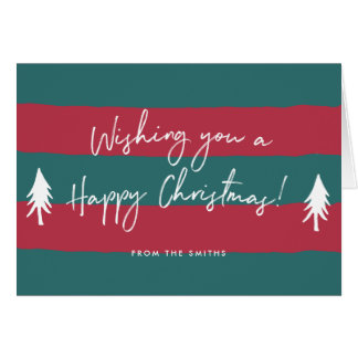 Stripy Happy Christmas Personalised Greeting Card