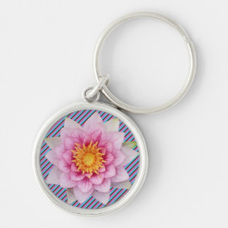 Stripy Keyring With Beautiful Flower Silver-Colored Round Key Ring