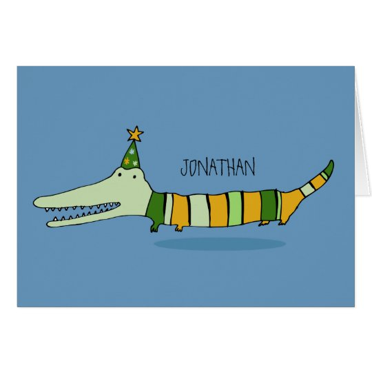 Stripy Mr Crocodile Greeting Card