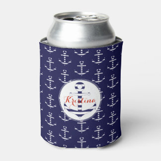 Stripy nautical anchor pattern can cooler