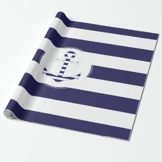 Stripy nautical anchor wrapping paper