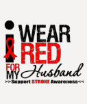 Stroke Awareness I Wear Red Ribbon For My Husband Tees