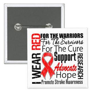 Stroke Awareness I Wear Red Ribbon TRIBUTE 15 Cm Square Badge