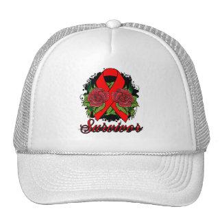 Stroke Cancer Survivor Rose Grunge Tattoo Mesh Hats