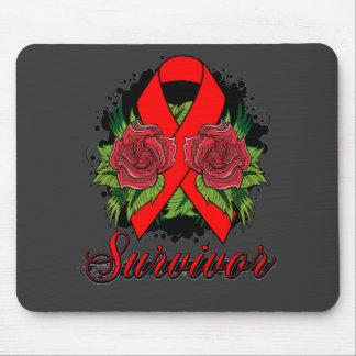 Stroke Cancer Survivor Rose Grunge Tattoo Mouse Pad