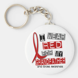Stroke I WEAR RED FOR MY GRANDFATHER 37 Basic Round Button Key Ring