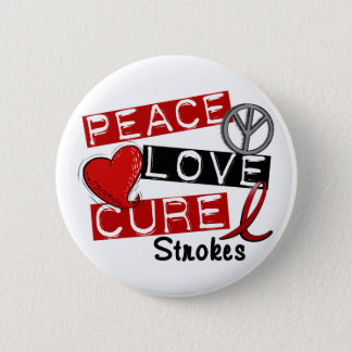 Stroke PEACE LOVE CURE 1 6 Cm Round Badge