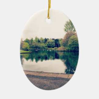 Stroll in the park ceramic oval decoration