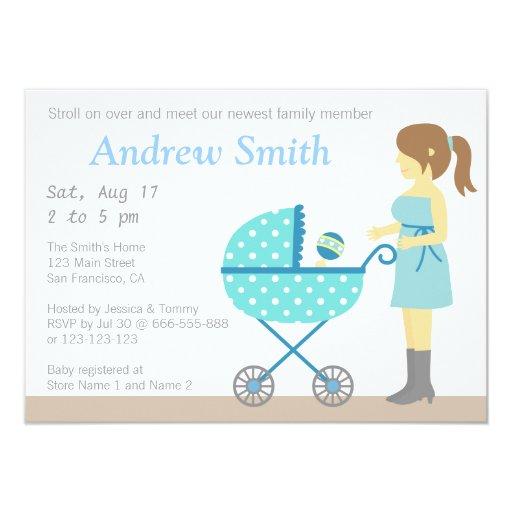 Mums Baby Shower: Stroller And Mum, Boy Baby Shower Invitation