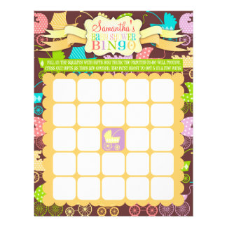Stroller Chic - Baby Shower Bingo & Name Scramble Personalized Flyer