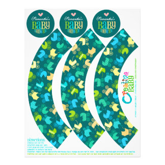 Stroller Chic Cupcake Wrappers Toppers Boys Flyers