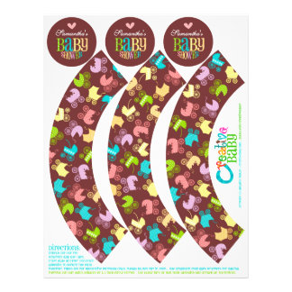 Stroller Chic Cupcake Wrappers Toppers Custom Flyer