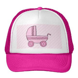 Stroller. Pink on Light Pink Stripes. Cap