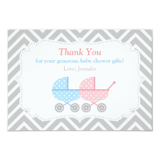Strollers Twins Baby Shower Thank You Card 9 Cm X 13 Cm Invitation Card