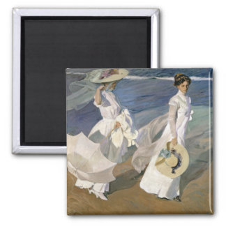 Strolling along the Seashore, 1909 Square Magnet