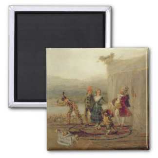 Strolling Players, 1793 (oil on tin plate) Square Magnet