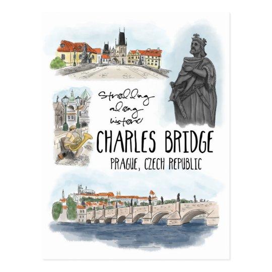 Strolling the Charles Bridge Prague - Postcard