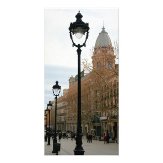 Strolling Through Barcelona, Spain Old Quarter Custom Photo Card