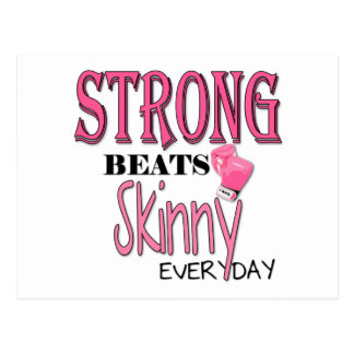 STRONG BEATS Skinny everyday! W/Pink Boxing Gloves Postcards