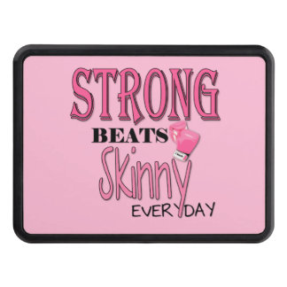 STRONG BEATS Skinny everyday! W/Pink Boxing Gloves Trailer Hitch Cover