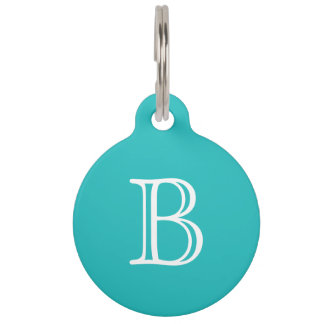 Strong Cyan White Monogram Name Pet ID Tag
