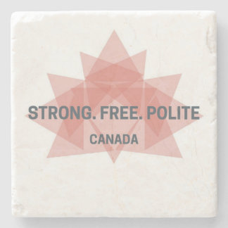 Strong. Free. Polite. Canada marble coaster