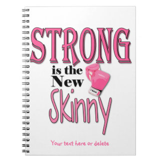 STRONG is the new Skinny! With Pink Boxing Gloves Spiral Note Book