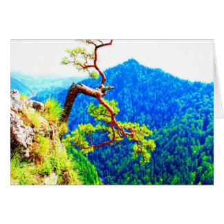 Strong life mountain top tree peek view tatra pola card