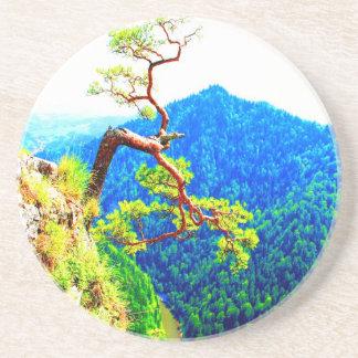 Strong life mountain top tree peek view tatra pola beverage coaster