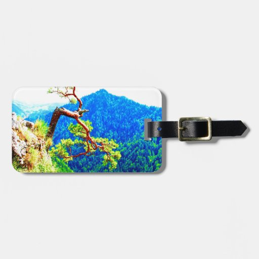 Strong life mountain top tree peek view tatra pola tag for bags