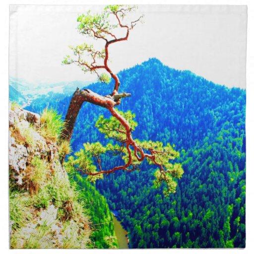 Strong life mountain top tree peek view tatra pola printed napkins