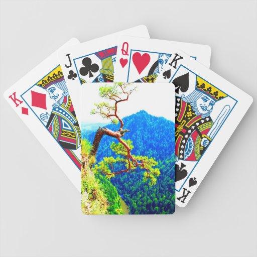 Strong life mountain top tree peek view tatra pola bicycle poker cards