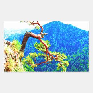 Strong life mountain top tree peek view tatra pola rectangular sticker