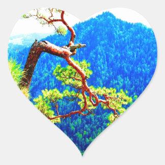 Strong life mountain top tree peek view tatra pola heart sticker