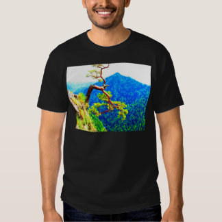 Strong life mountain top tree peek view tatra pola tee shirts