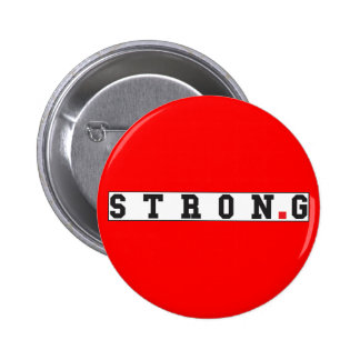 strong text message emotion feel red dot square 6 cm round badge