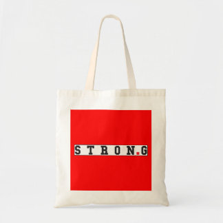 strong text message emotion feel red dot square budget tote bag